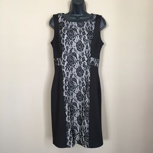 New Black Sheath Dress with Nude Rose Lace